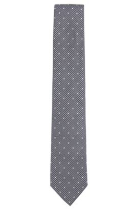 Patterned Italian Silk Tie, Open Grey