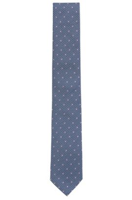 Patterned Italian Silk Tie, Dark Blue