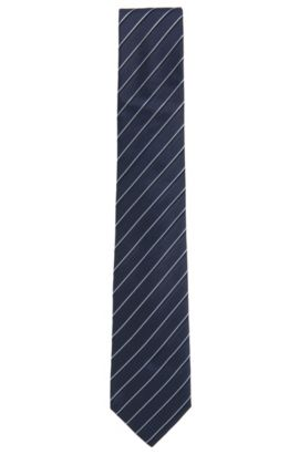 Patterned Italian Silk Tie, Light Blue