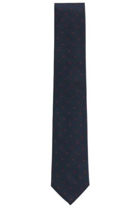 'Tie 7.5 cm' | Regular, Textured Silk Tie, Red