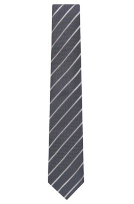 'Tie 7.5 cm' | Regular, Striped Silk Tie, Open Grey