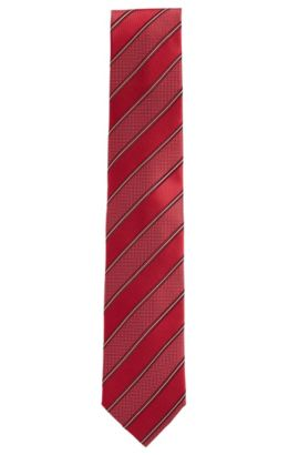 'Tie 7.5 cm' | Regular, Striped Silk Tie, Red