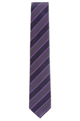 Striped Italian Silk Tie, Purple