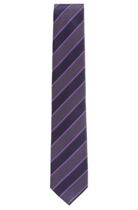 'Tie 7.5 cm' | Regular, Striped Silk Tie, Purple