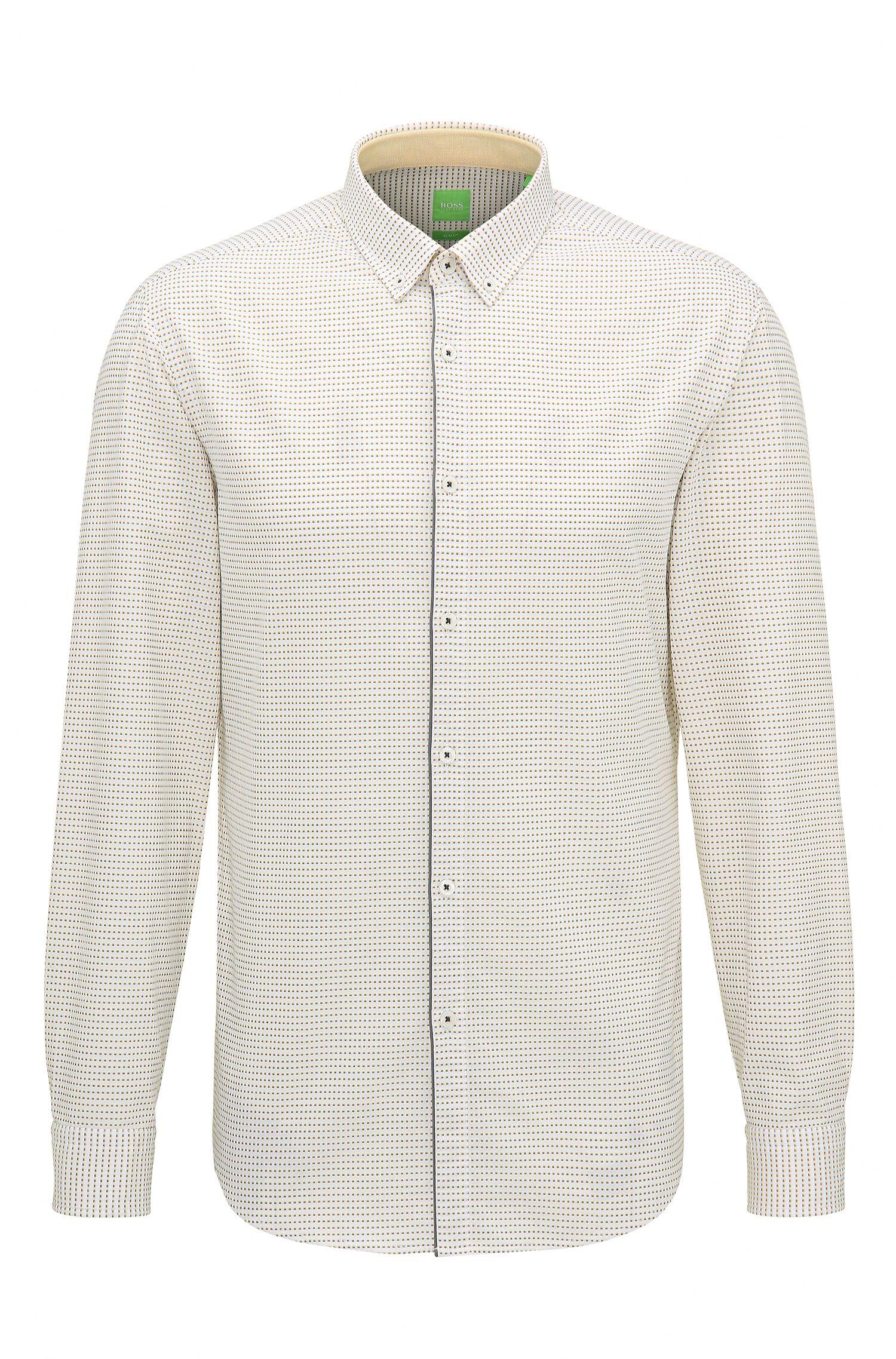 'C-Baltero' | Slim Fit, Micro-Square Dot Cotton Button-Down Shirt