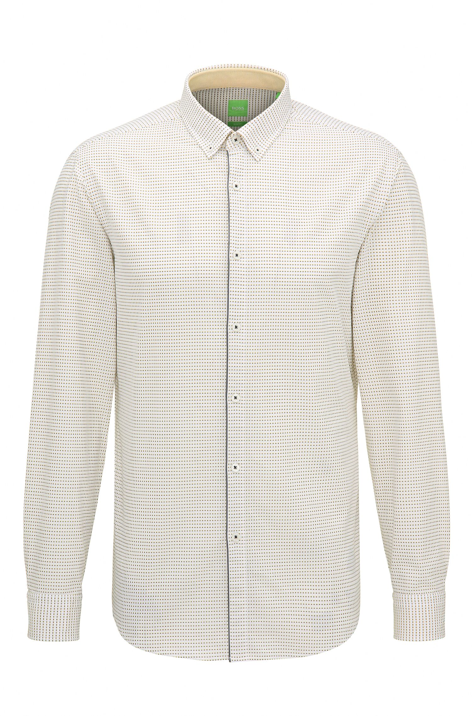 Micro-Square Dot Cotton Button-Down Shirt, Slim Fit | C-Baltero