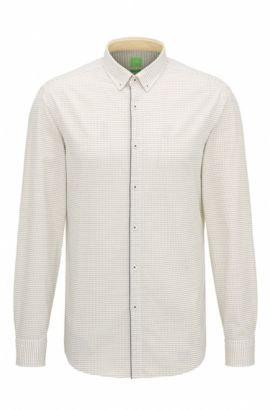 'C-Baltero' | Slim Fit, Micro-Square Dot Cotton Button-Down Shirt, Yellow