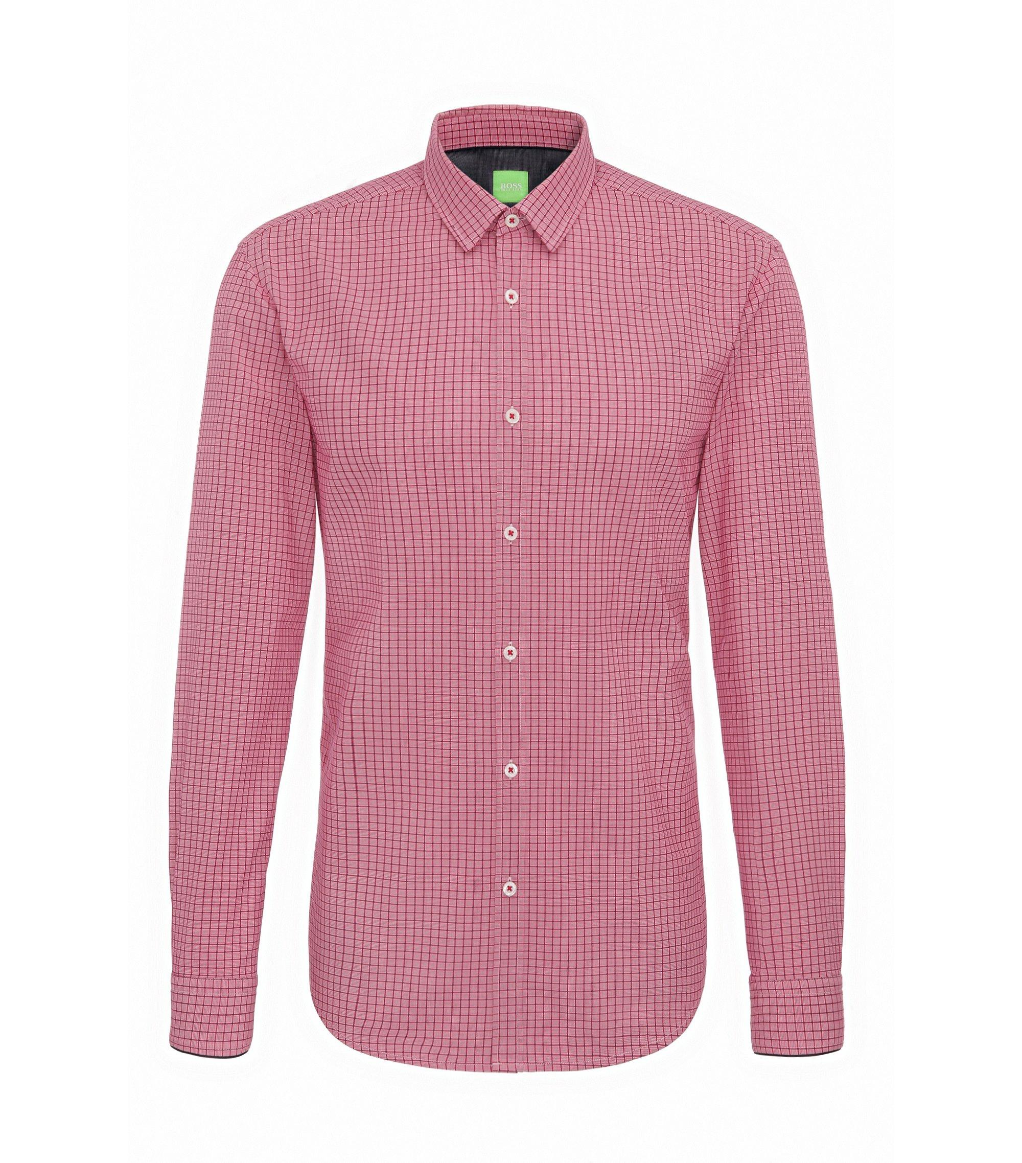 Windowpane Cotton Sport Shirt, Slim Fit | C-Bia, Pink