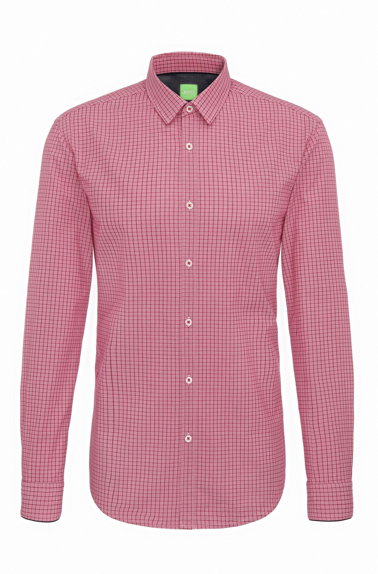 'C-Bia' | Slim Fit, Windowpane Cotton Button-Down Shirt