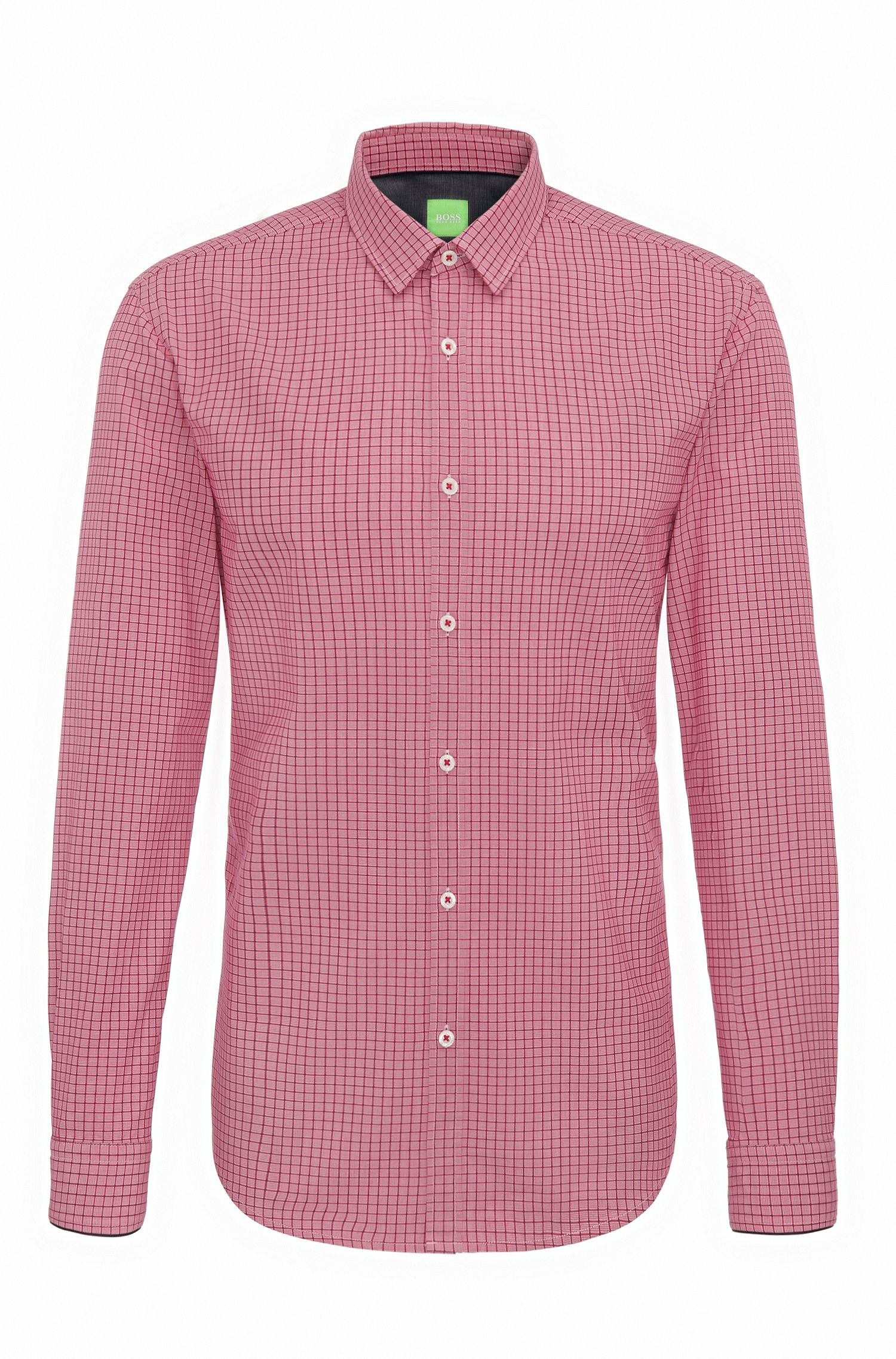 Windowpane Cotton Sport Shirt, Slim Fit | C-Bia, Pink
