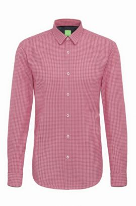 'C-Bia' | Slim Fit, Windowpane Cotton Button-Down Shirt, Pink