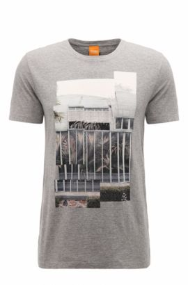 'Tonight' | Cotton Jersey Graphic T-Shirt, Light Grey