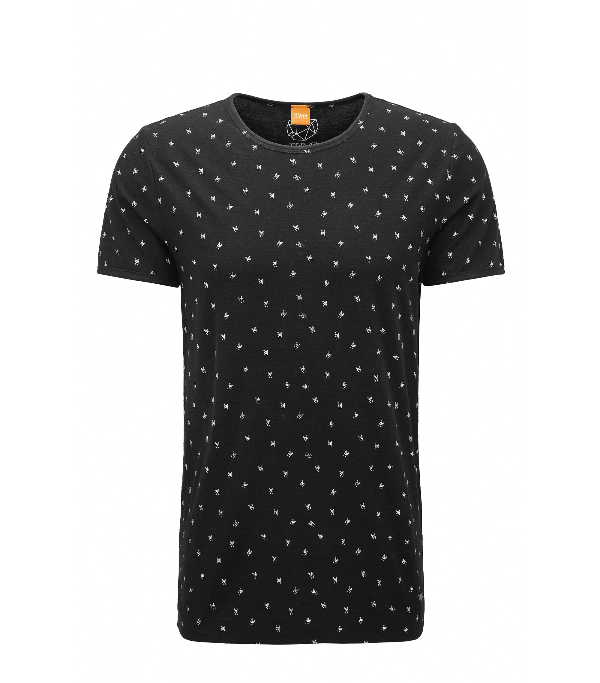 Printed Slub Jersey T-Shirt | Thoughts, Black