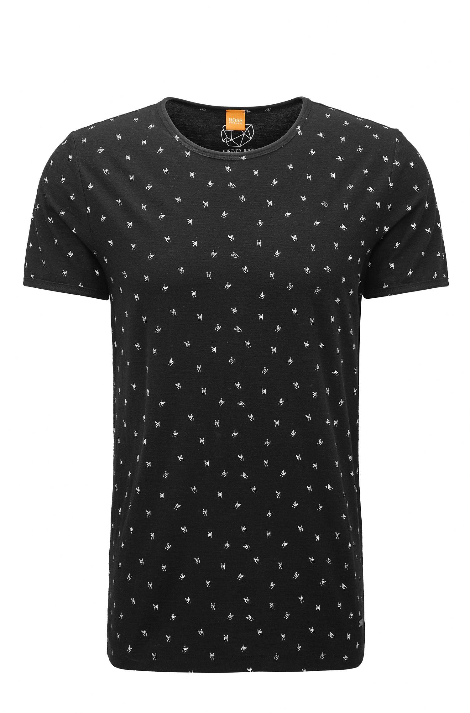Printed Slub Jersey T-Shirt   Thoughts, Black