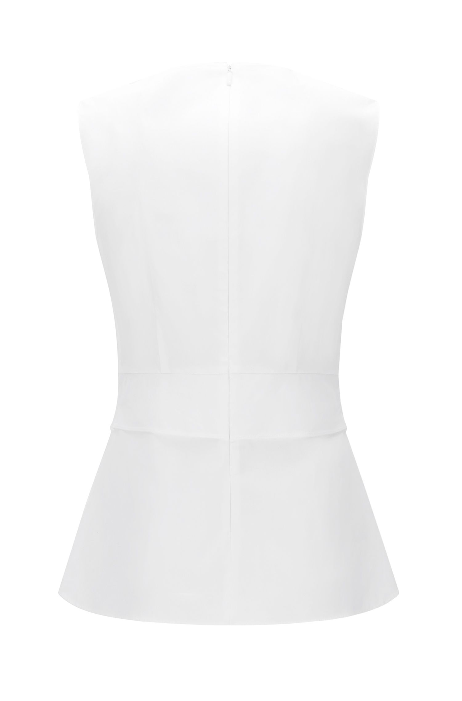 Waist-Tie Stretch Cotton Top | Lanina