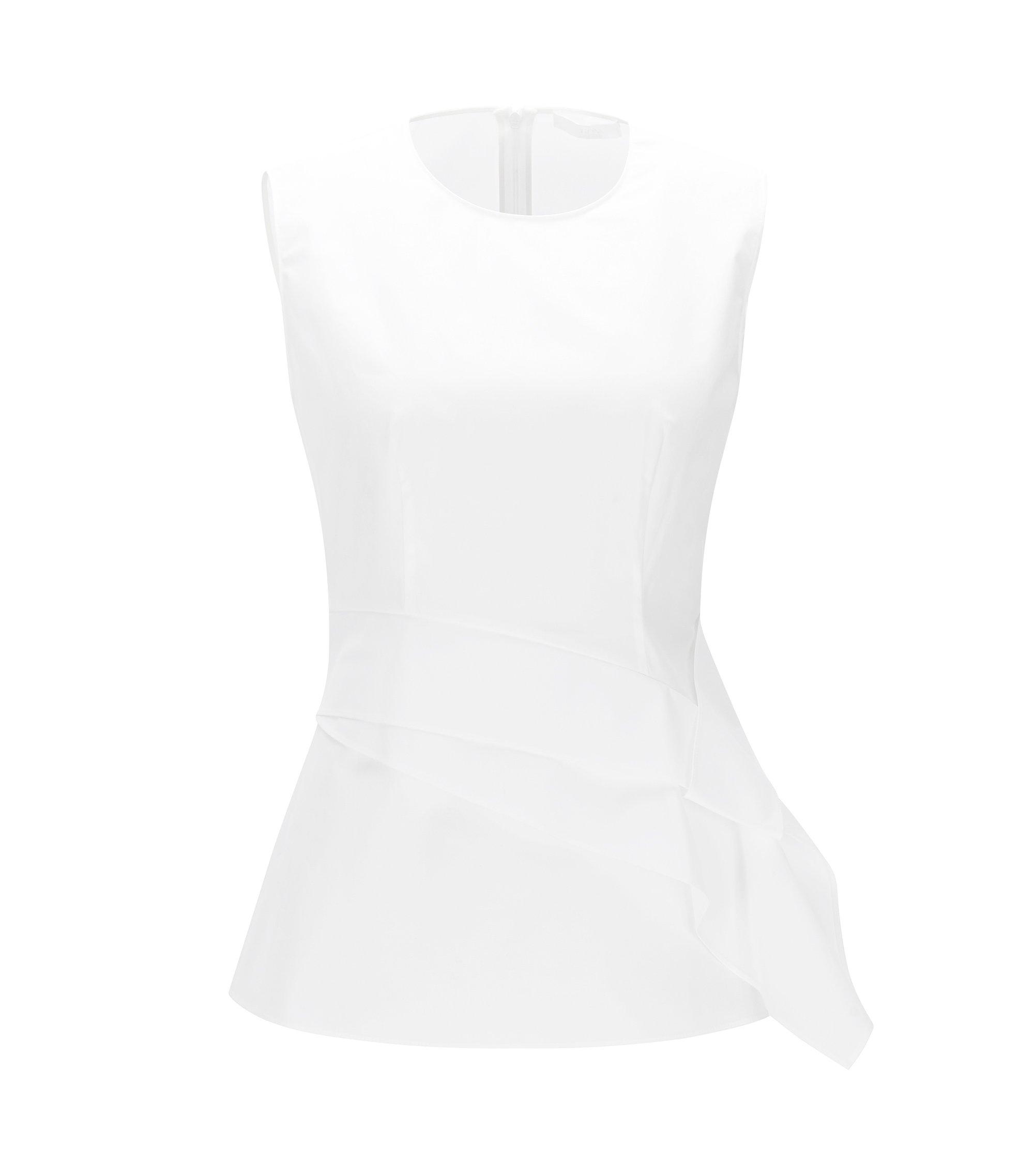 Waist-Tie Stretch Cotton Top | Lanina, White