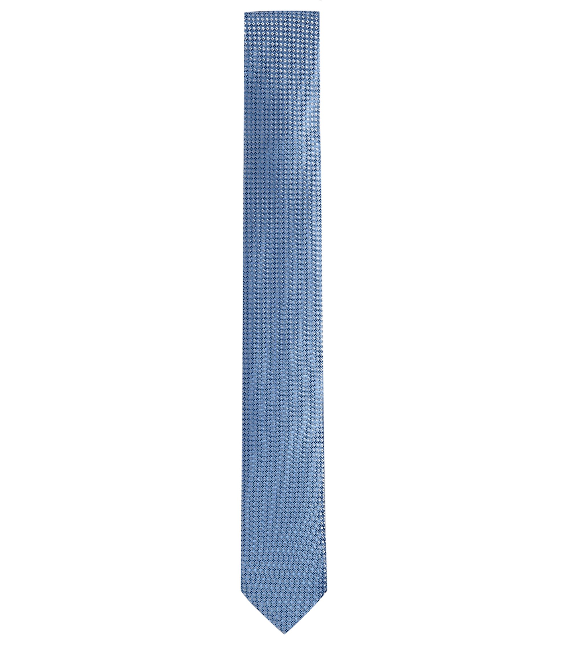 Woven Italian Silk Slim Tie, Dark Blue