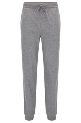 'Long Pant CW Cuffs' | Cuffed Heathered Stretch Cotton Sweatpants, Grey