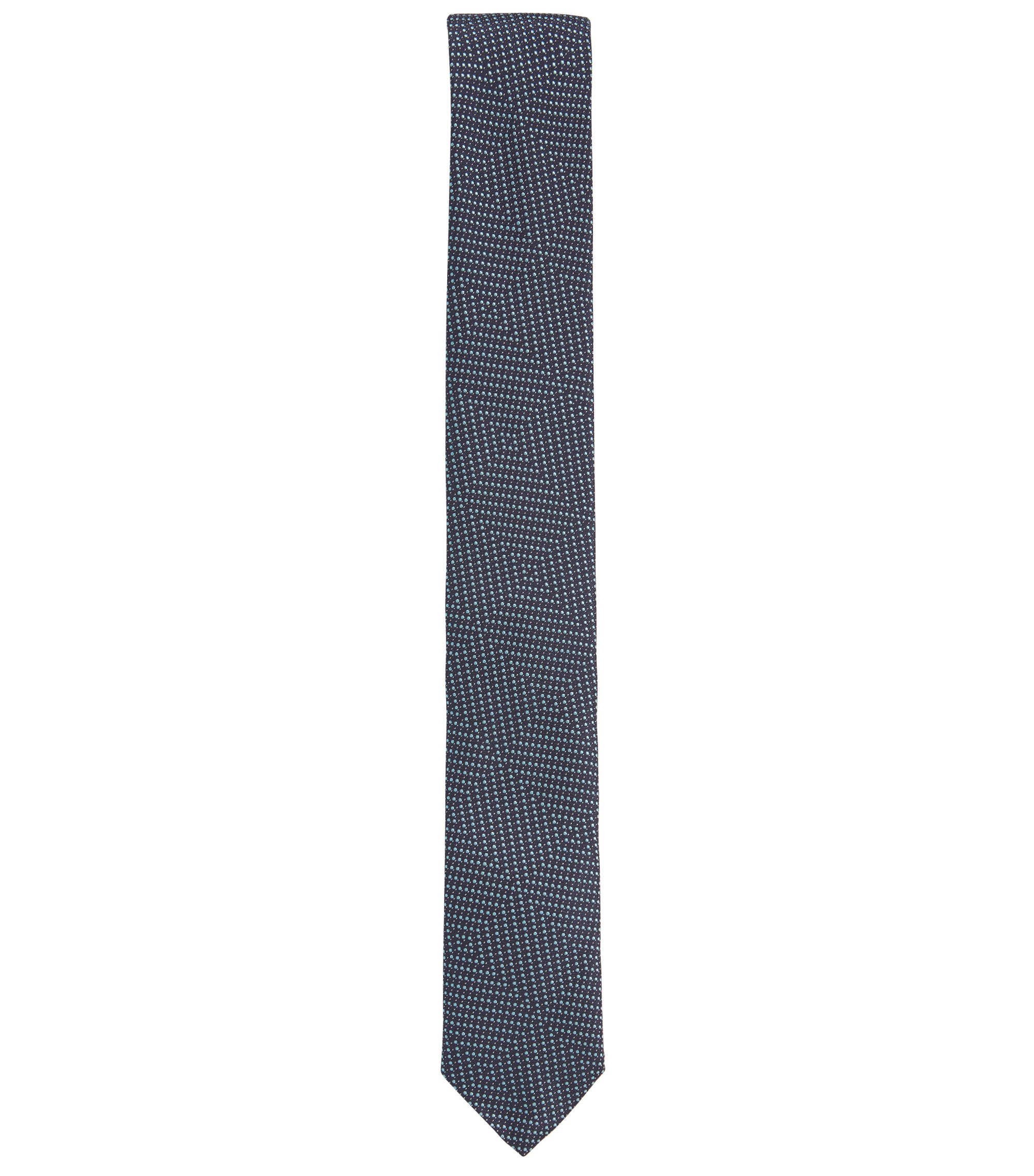 Geometric Pindot Italian Silk Slim Tie, Dark Blue