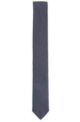 Geometric Pindot Italian Silk Slim Tie, Dark Blue