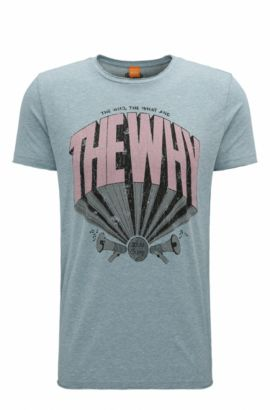Cotton Blend Graphic T-Shirt | TheWhy, Turquoise