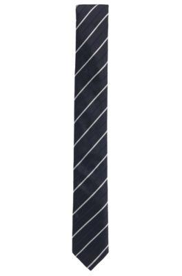 Stripe Embroidered Silk Slim Tie, Open Blue