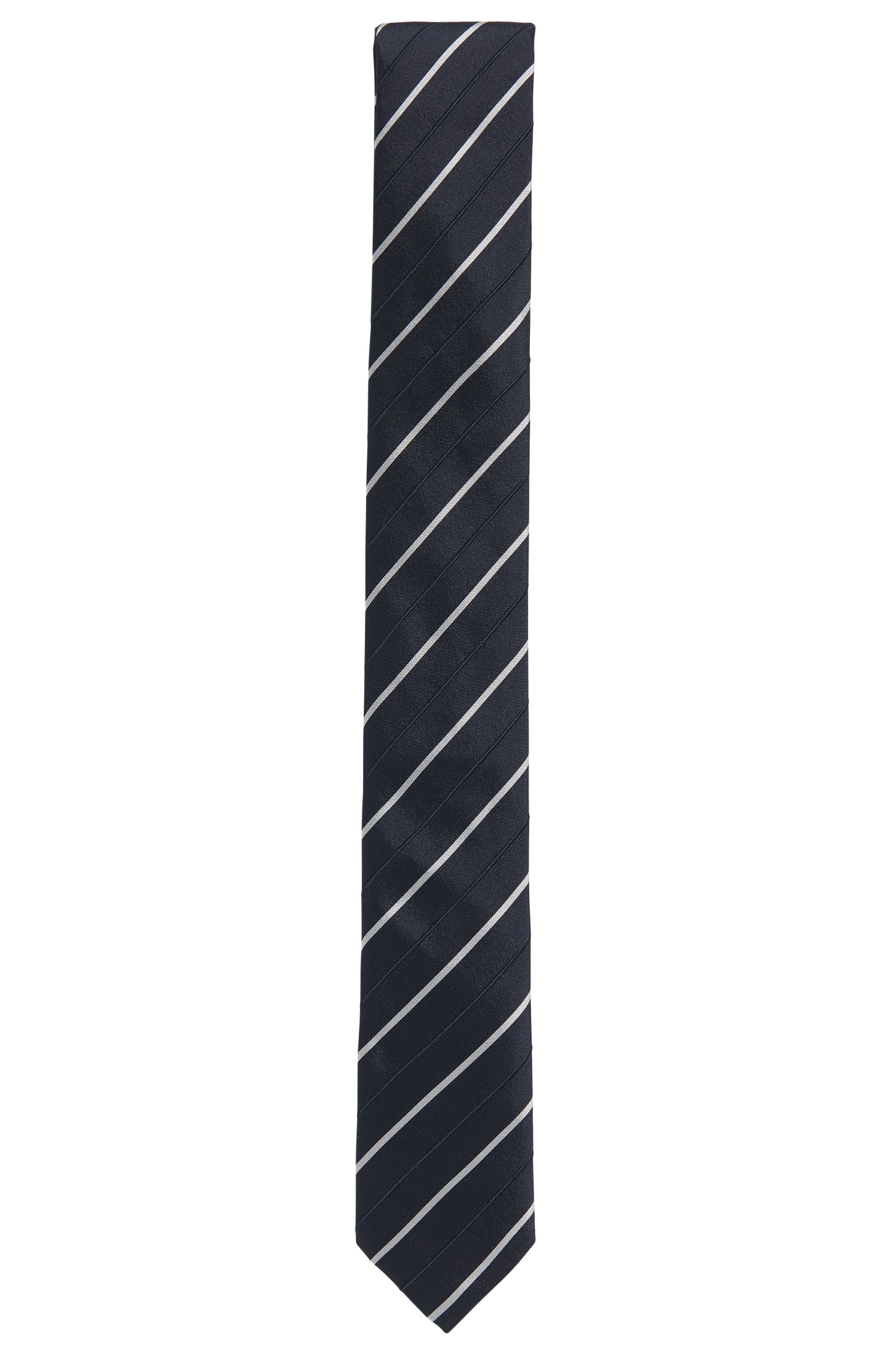 Stripe Embroidered Silk Slim Tie