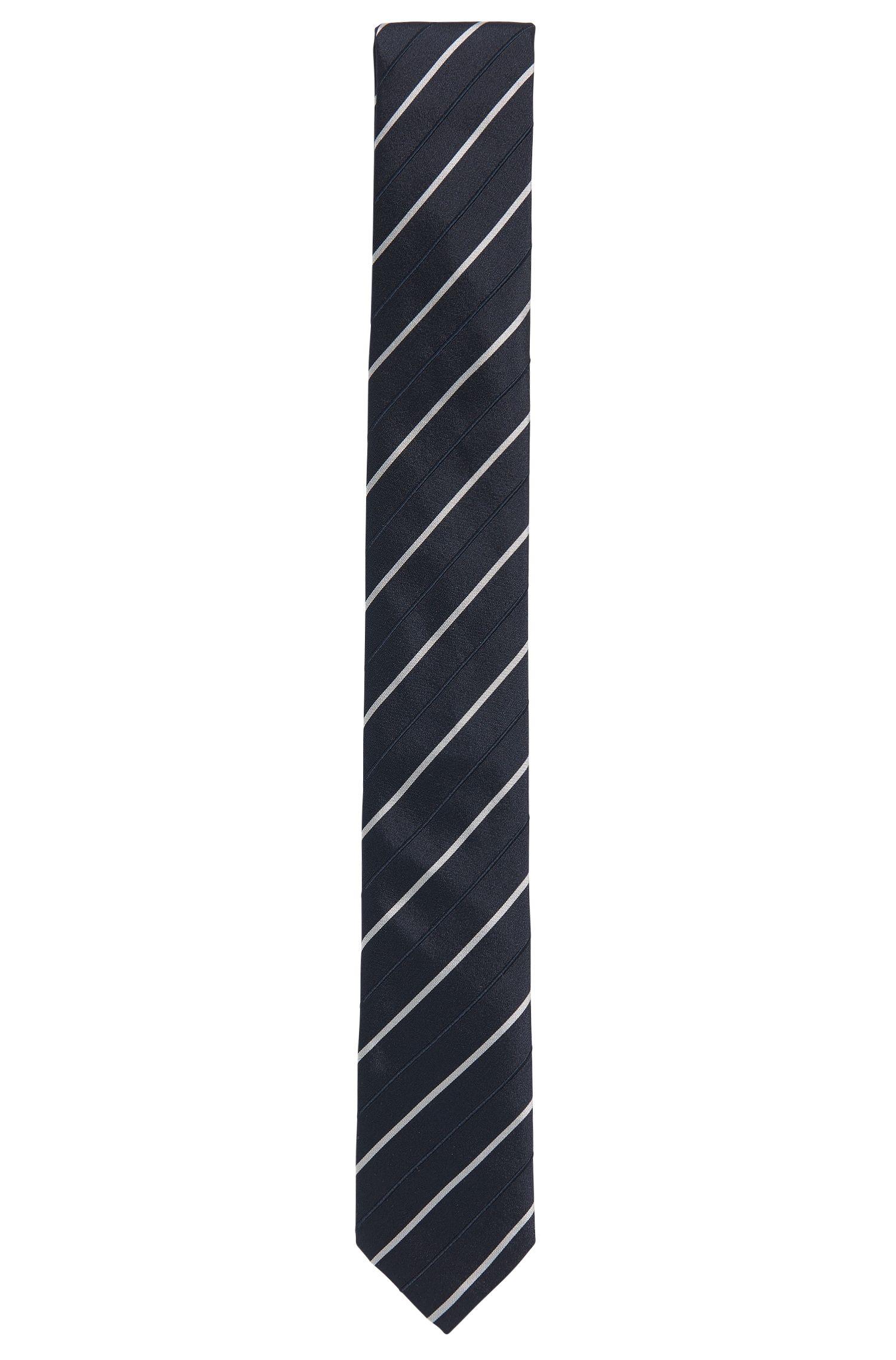 Stripe Embroidered Silk Tie, Slim | Tie 6 cm