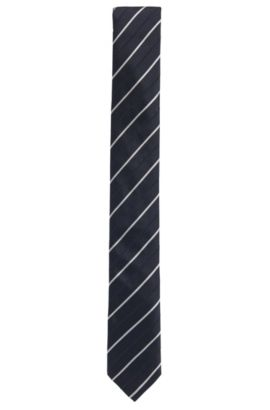 Stripe Embroidered Silk Tie, Slim | Tie 6 cm, Open Blue