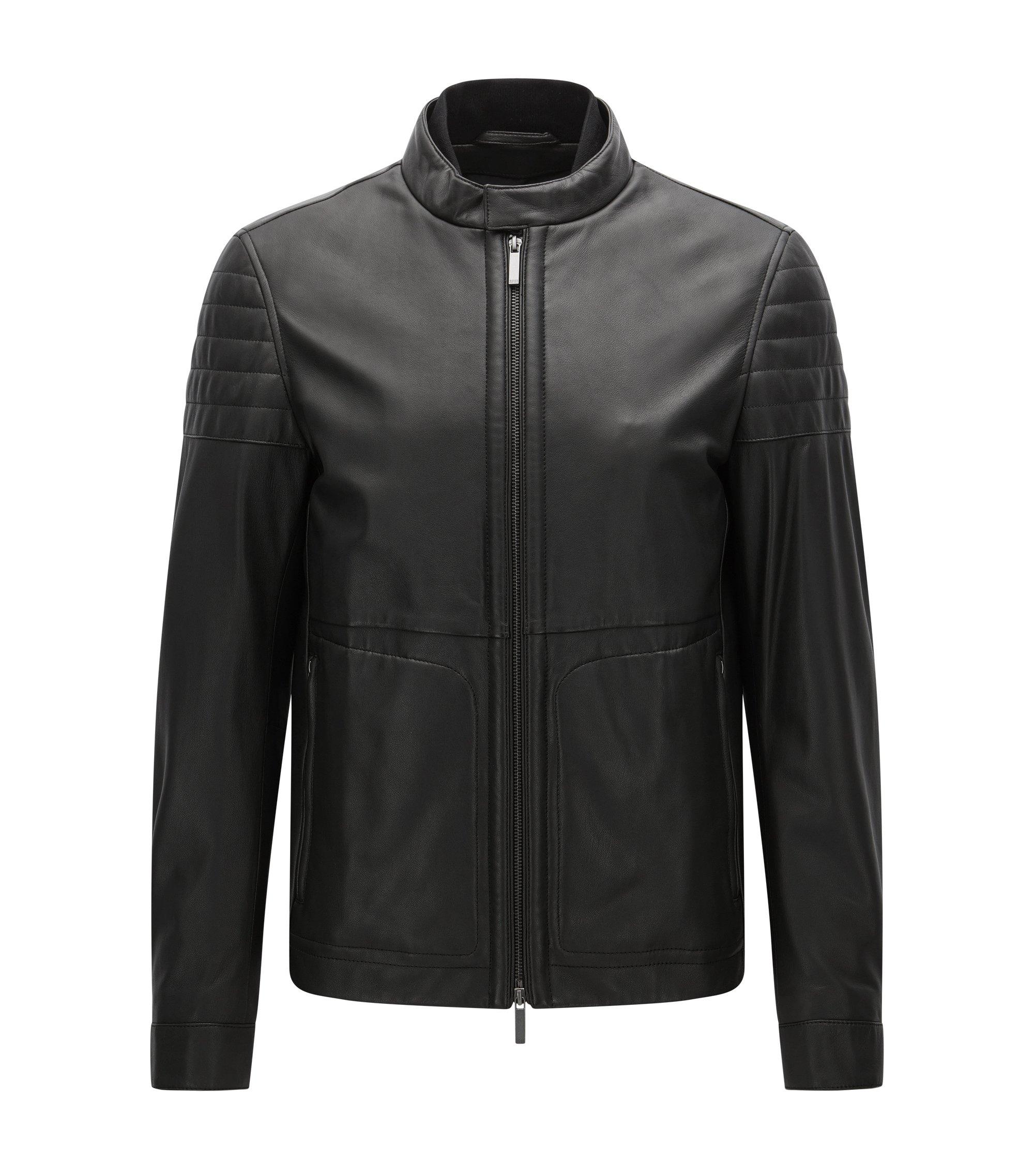 Nappa Leather Moto Jacket, Slim Fit | Gavus, Black