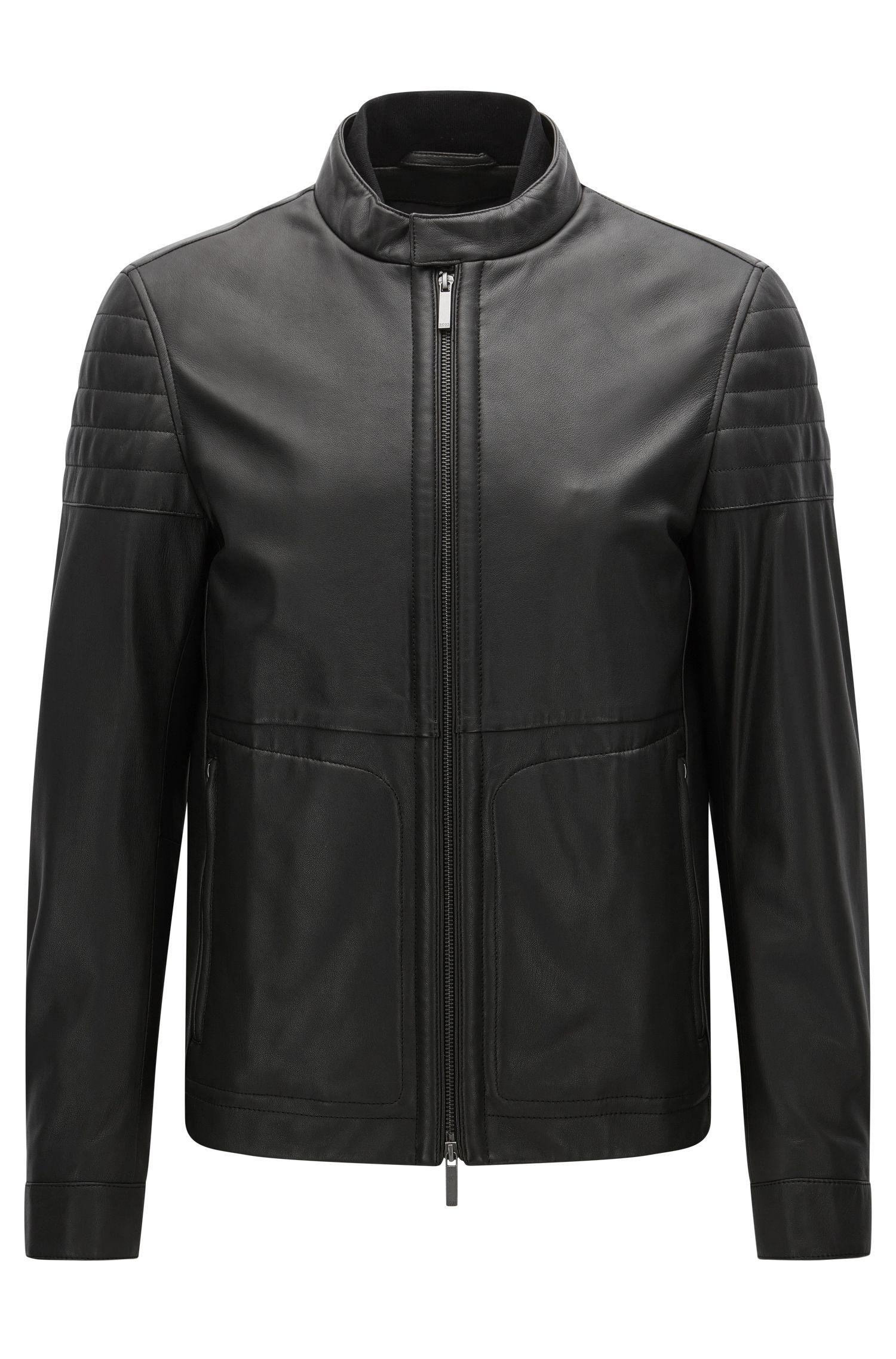 Nappa Leather Moto Jacket, Slim Fit   Gavus