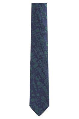Embroidered Italian Silk Slim Tie, Open Green