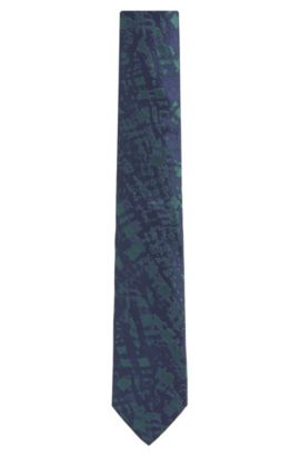 Embroidered Italian Silk Slim Tie, Open Green