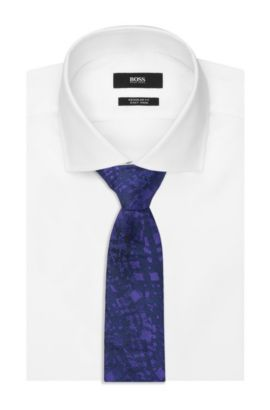 'Tie 6 cm' | Slim, Silk Embroidered Tie, Purple