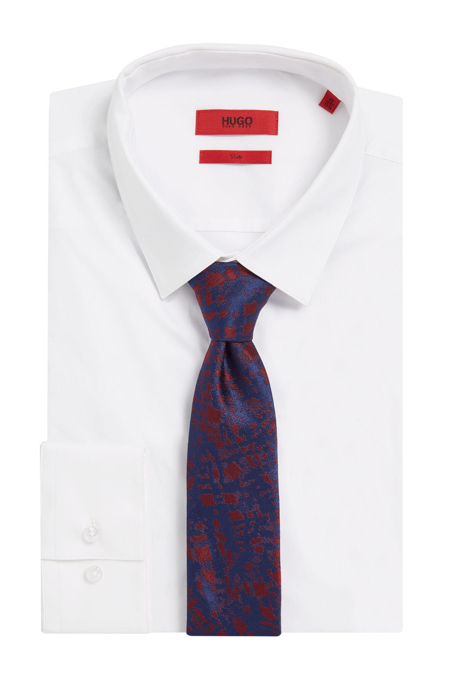 Embroidered Italian Silk Slim Tie, Dark Red