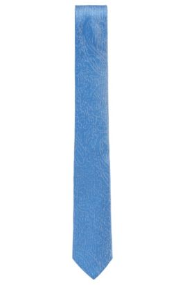 'Tie 6 cm' | Slim, Jacquard Embroidered Silk Tie, Light Blue