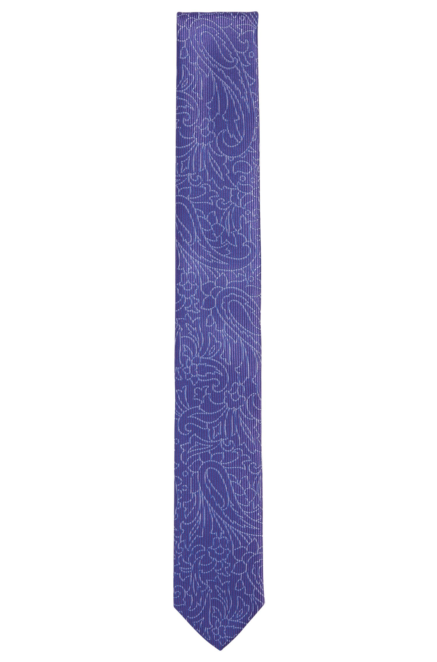 Jacquard Embroidered Italian Silk Slim Tie, Purple