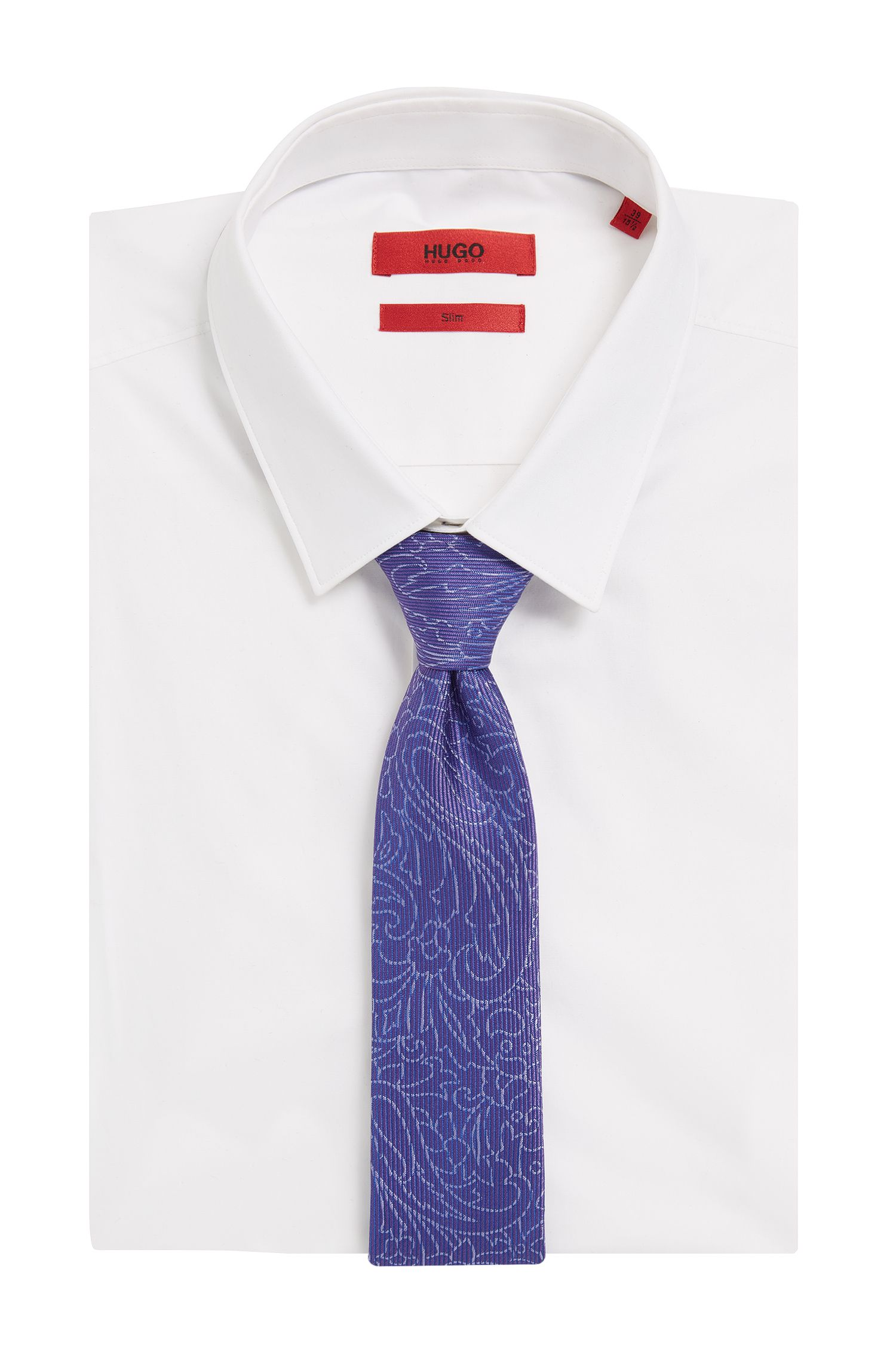 Jacquard Embroidered Italian Silk Slim Tie