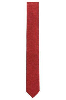 'Tie 6 cm' | Slim, Jacquard Embroidered Silk Tie, Dark Red