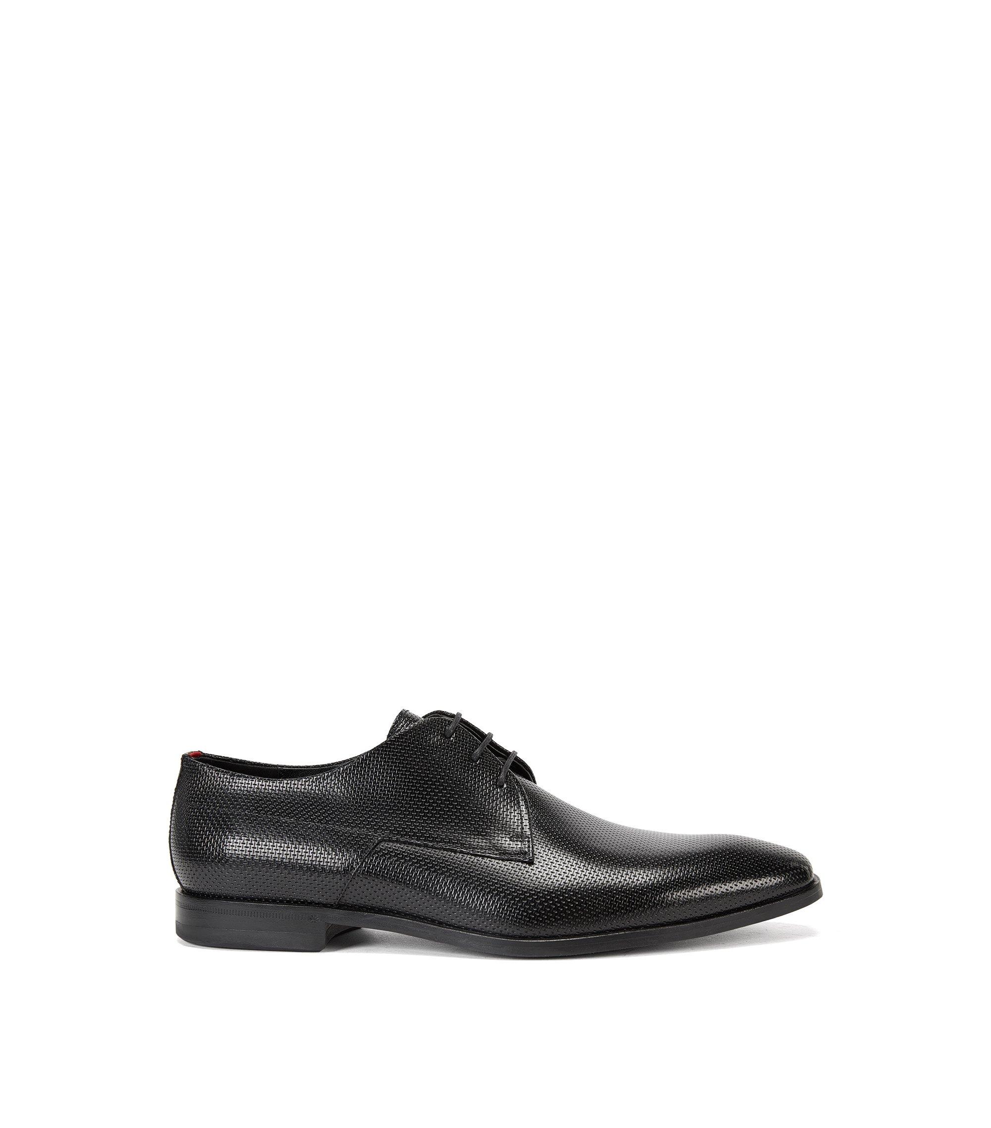Mesh-Embossed Leather Derby Dress Shoes | Square Derb Bopr, Black