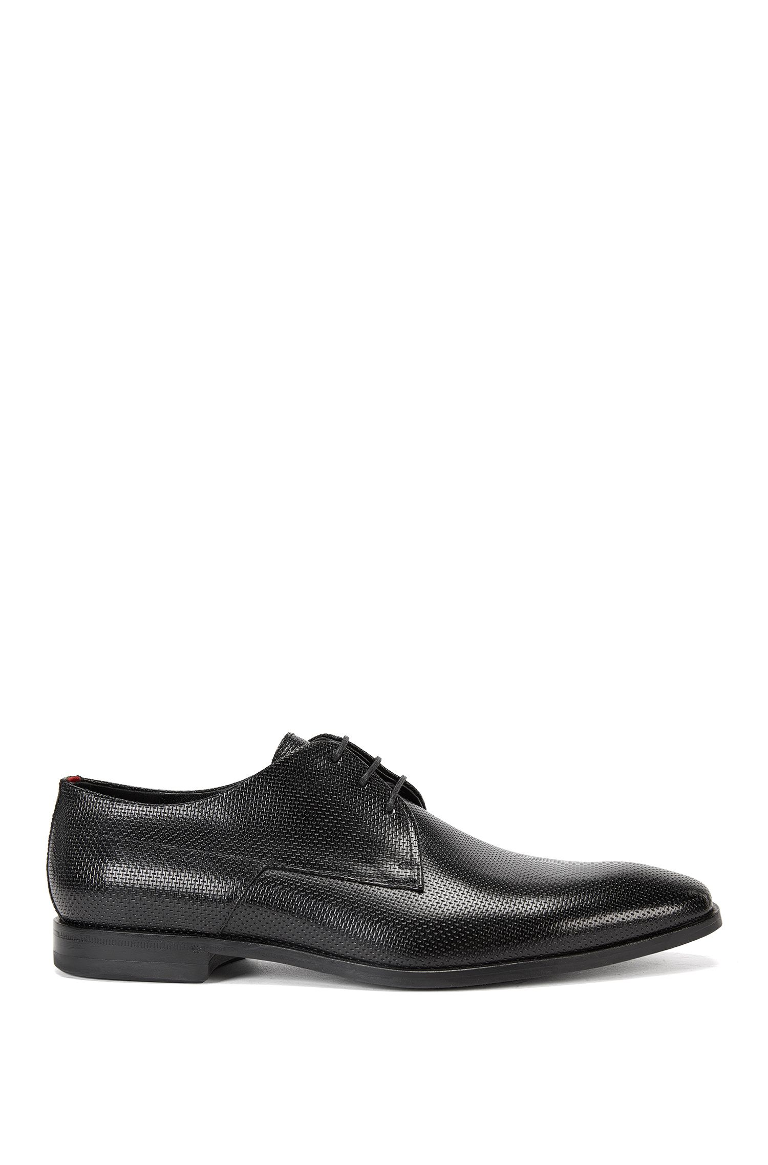Mesh-Embossed Leather Derby Dress Shoes | Square Derb Bopr