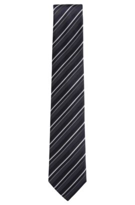 'Tie 7.5 cm' | Regular, Striped Silk Tie, Dark Blue