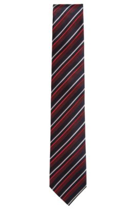Striped Silk Tie, Regular | Tie 7.5 cm, Red