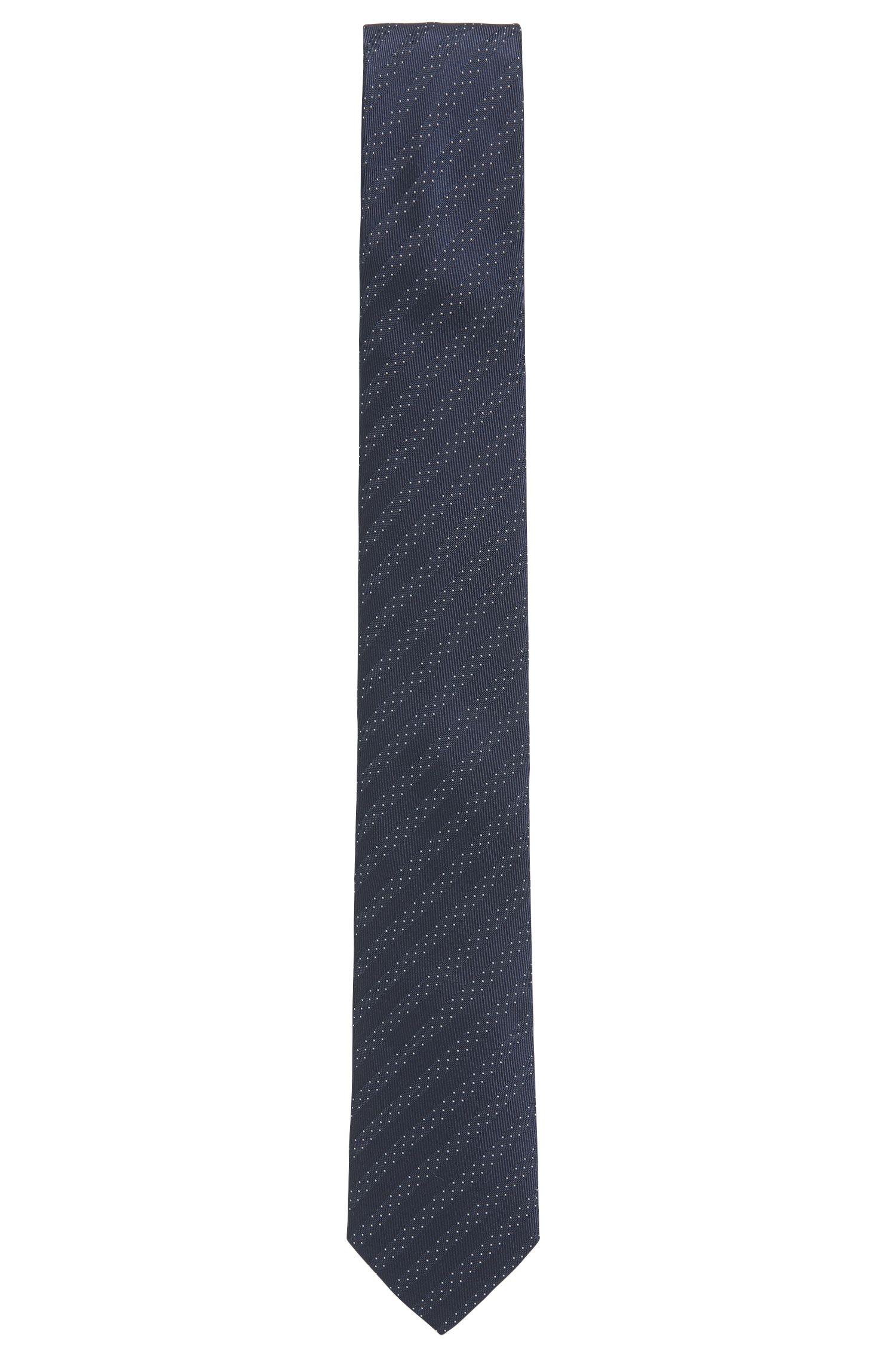 Micro-Dot Striped Italian Silk Slim Tie, Dark Blue
