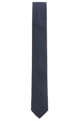 Micro-Dot Striped Italian Silk Slim Tie, Dark Blue