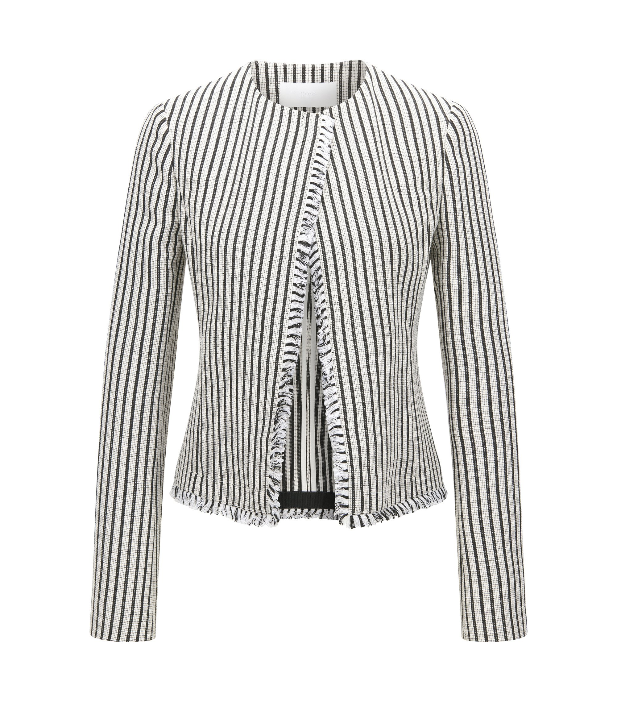 Striped Cotton Blend Bouclé Jacket | Komina, Patterned