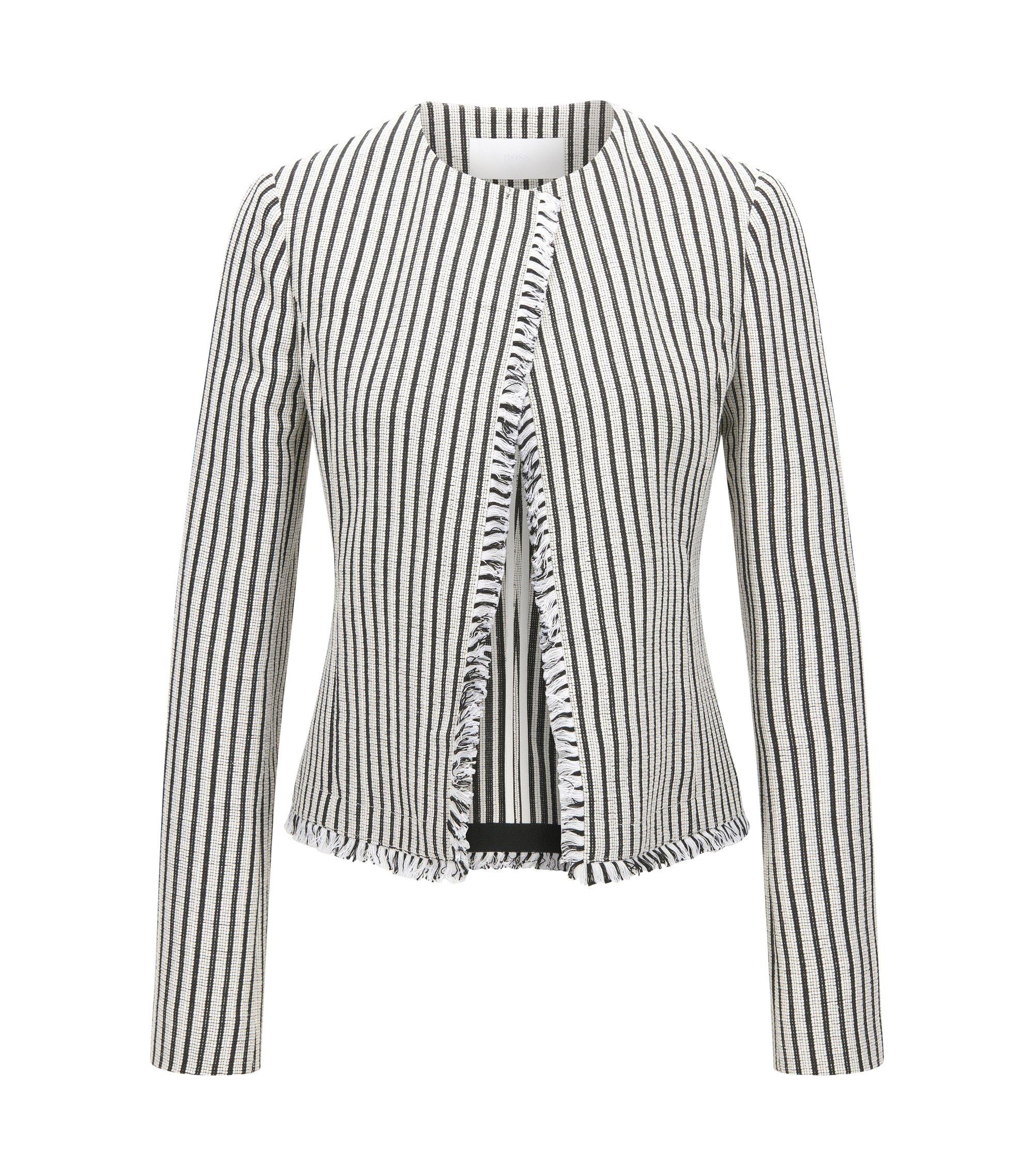 Striped Cotton Blend Bouclé Jacket | Komina, Patterned