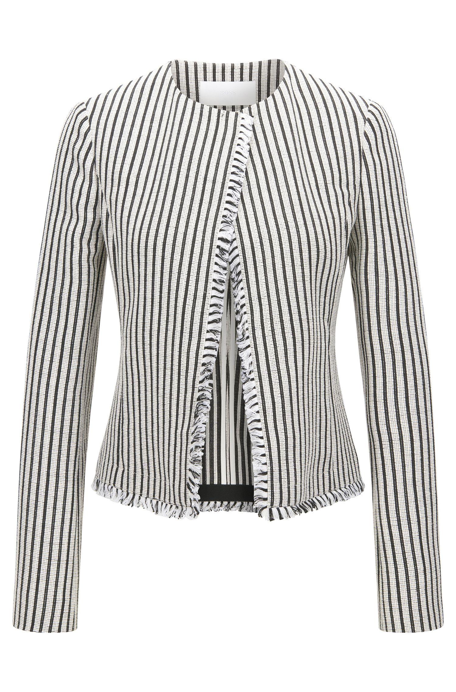 'Komina' | Striped Cotton Blend Bouclé Jacket