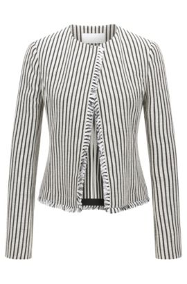 'Komina' | Striped Cotton Blend Bouclé Jacket, Patterned