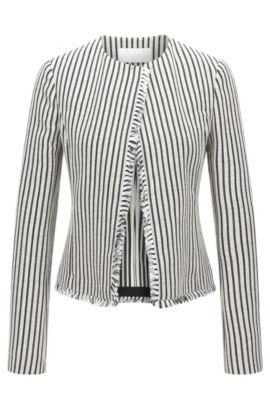 'Komina' | Striped Cotton Blend Bouclé Jacket, Patterned